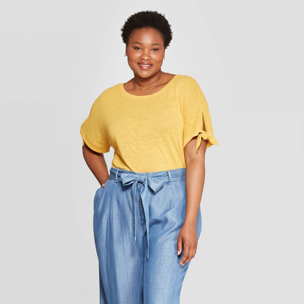 b25533c54724ac Womens Plus Size Linen Tie Short Sleeve Crewneck T Shirt Ava Viv Mustard  Yellow 4X