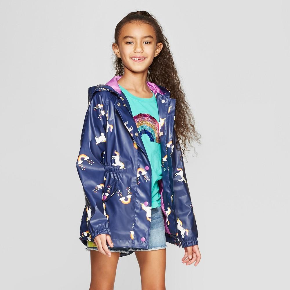Girls' Unicorn Print Rain Jacket - Cat & Jack Navy S, Blue