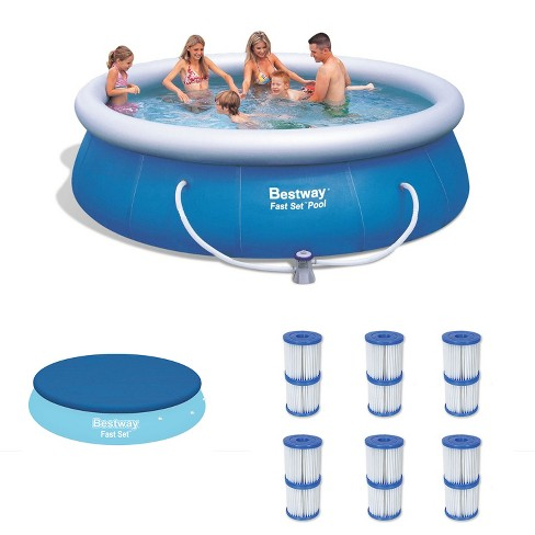 Bestway 12ft x 36in Inflatable Pool w/ Debris Cover & Type V/K Filter Cartridges - image 1 of 4
