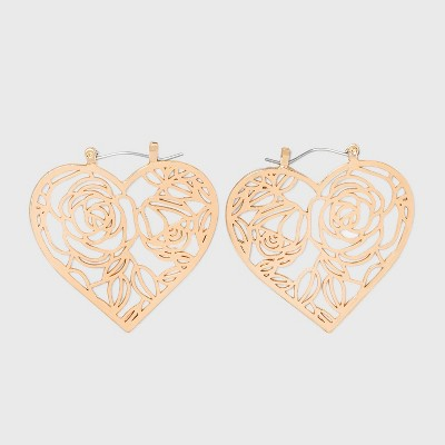 Filigree Heart Statement Earrings - Wild Fable™ Gold
