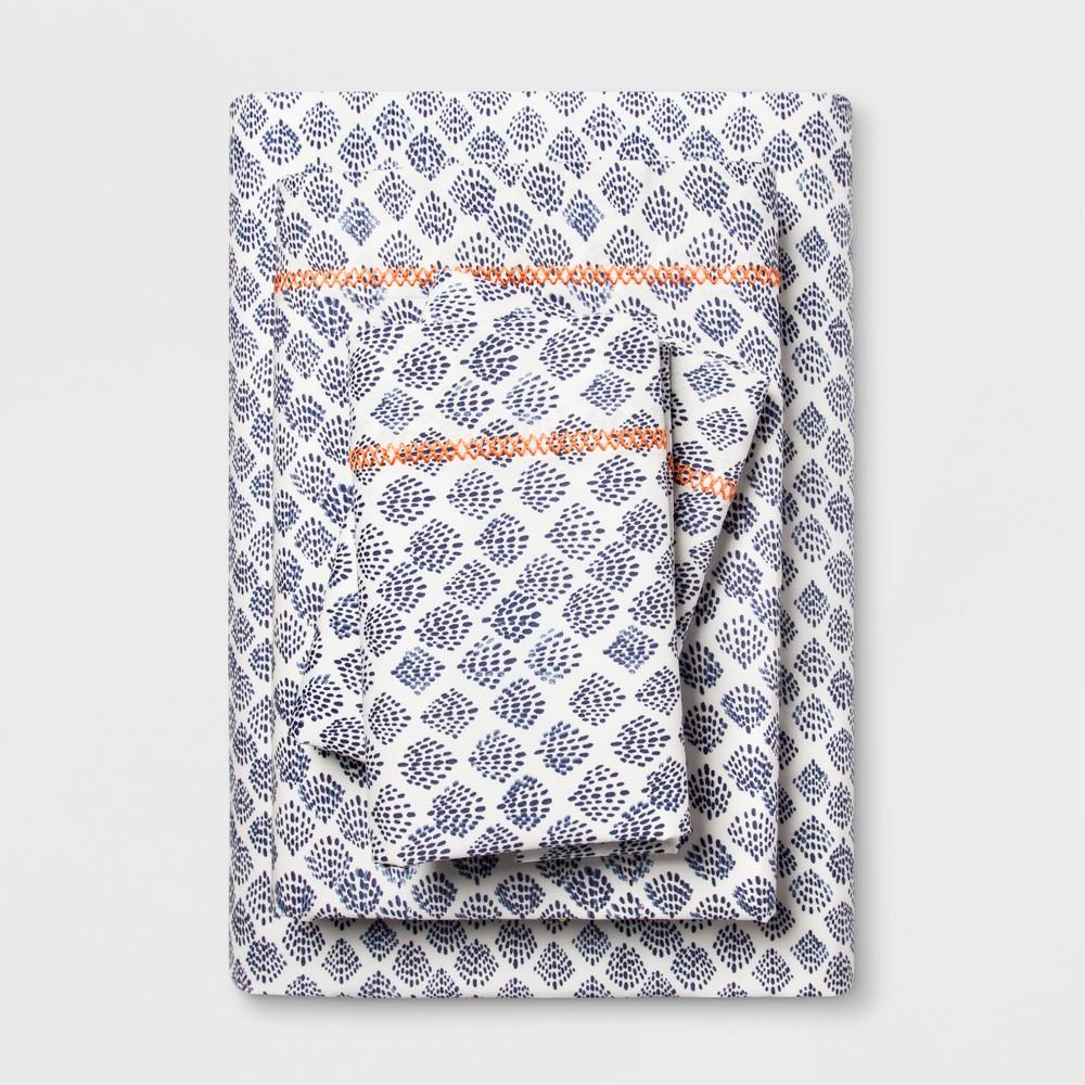 Cotton Percale Print Sheet Set (Queen) Indigo (Blue) - Opalhouse