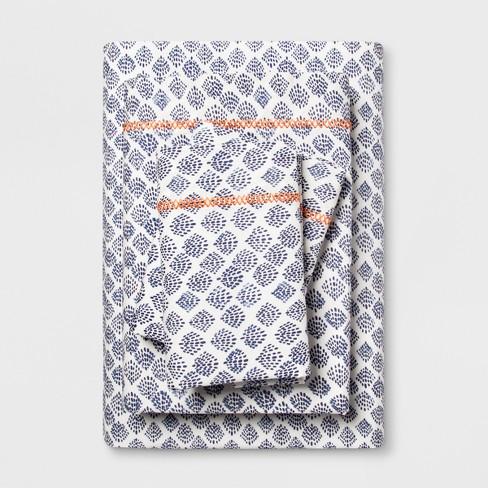 Full Cotton Percale Print Sheet Set Indigo - Opalhouse™ - image 1 of 1