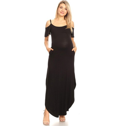Maternity Cold Shoulder Maxi Dress with Pockets - White Mark - image 1 of 3