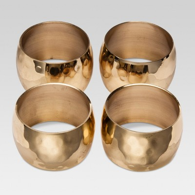 4ct Large Hammered Napkin Rings Gold - Threshold™