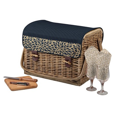 8pc Dahlia Collection Kabrio Wine and Cheese Basket Set Navy - Picnic Time