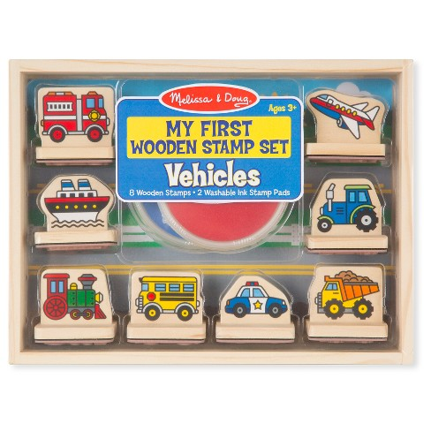 Melissa & Doug® My First Wooden Stamp Set - Vehicles - image 1 of 3