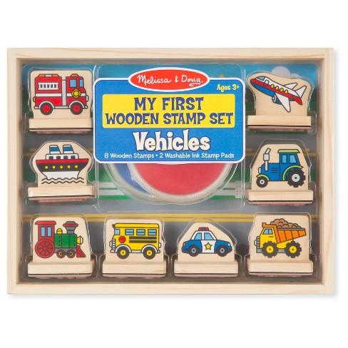 Melissa Doug My First Wooden Stamp Set Vehicles