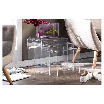 Genial 3 Piece Acrylic Nesting Table Set Display Stands   Baxton Studio