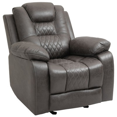 HomCom Overstuffed Manual Recliner Chair with Thick Sponge Padded Headrest and Armrest and Rocking Function Brown