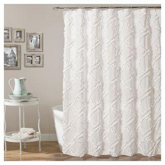 Shower Curtain Ruffle Diamond White - Lush Décor