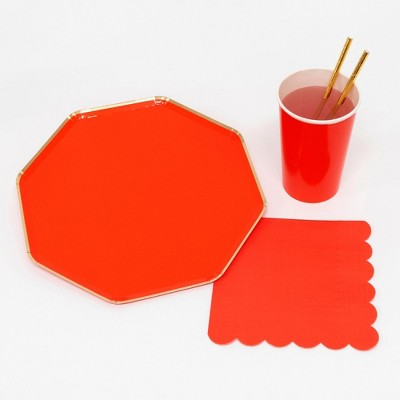 Meri Meri - Red Party Supplies Collection (Plate, Napkin, Cup) - Set of 8