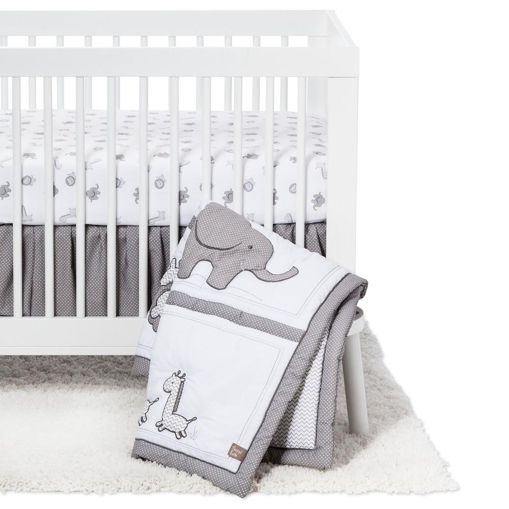 Image of Trend Lab 3 Piece Crib Bedding Set - Safari Chevron, White Gray