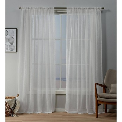 Itaji Rod Pocket Sheer Window Curtain Panels - Exclusive Home