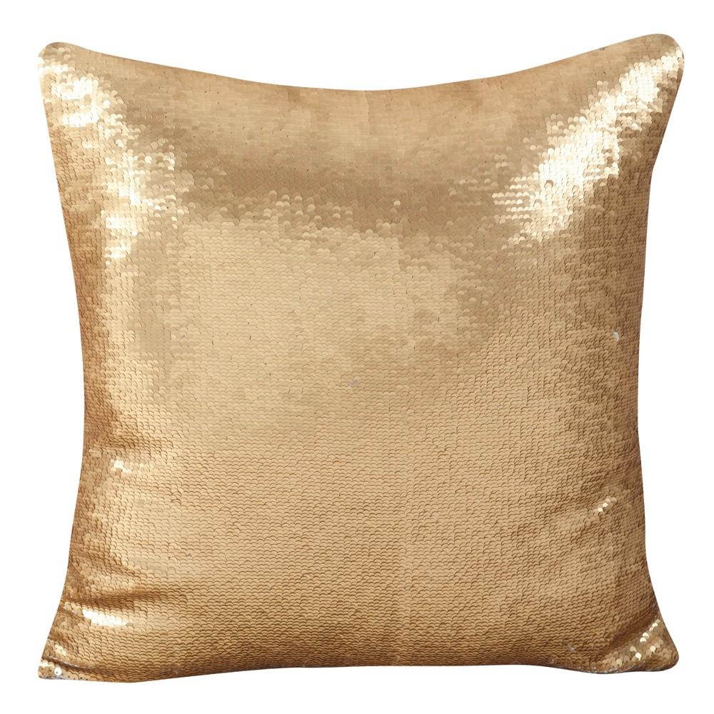 Gold Sequin Mermaid Design Throw Pillow (18) - Saro Lifestyle, Light Gold