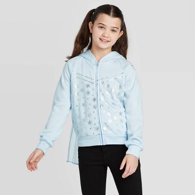 Girls' Disney Frozen Elsa Cosplay Hoodie Sweatshirt - Light Blue XXL
