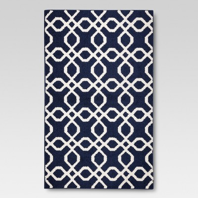 "2'6""x4' Trellis Scatter Washable Rug Blue - Threshold™"