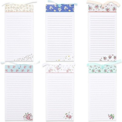"""Juvale 6-Pack Magnetic Note Pads, Grocery List, To-Do & Shopping Notepad Memo for Fridge, Flower Designs, 60-Sheet per Pad, 4"""" x 8"""""""
