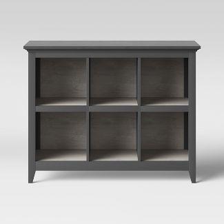 "37.2"" Carson 6 Bin Organizer Bookcase Gray  - Threshold™"