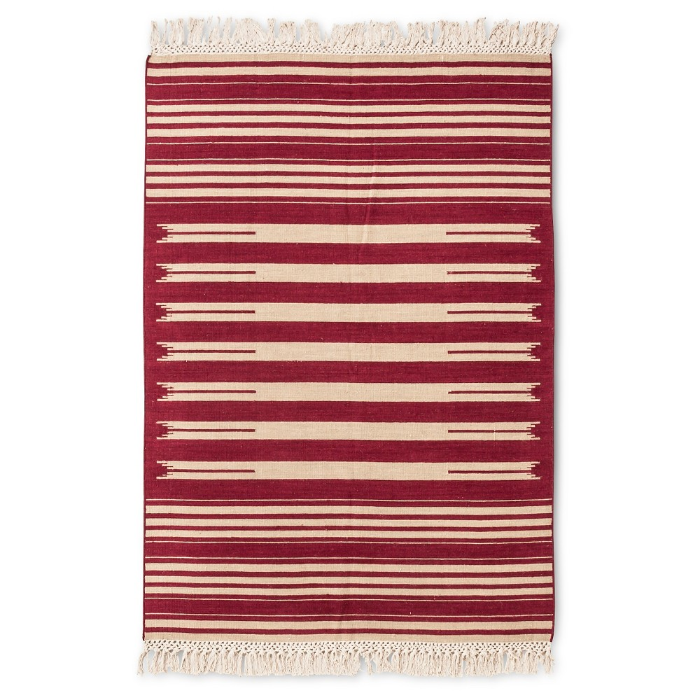 Flatwoven Stripe Area Rug Red (7'x10')