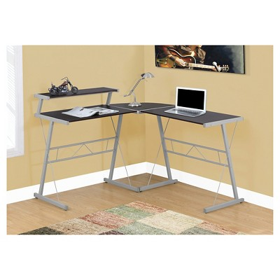 Superbe Contemporary Minimalist Cappuccino Top Computer Desk   Silver Metal    EveryRoom : Target