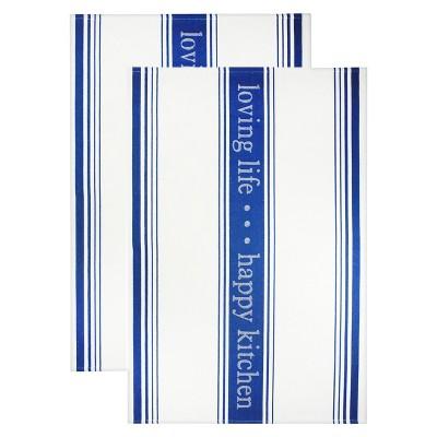 Jacquard Towel Loving Lifehappy Kitchen Indigo Blue - Mu Kitchen
