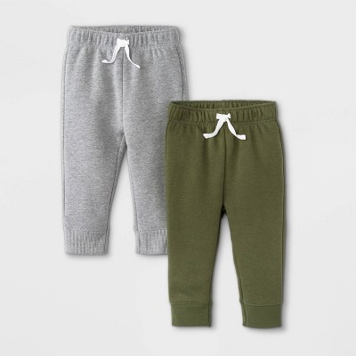 Baby Boys' 2pk Fleece Jogger Pull-On Pants - Cat & Jack™ Olive Green/Gray 3-6M