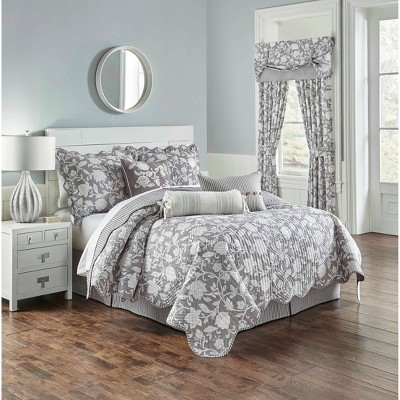 Waverly Full/Queen 4pc Stencil Vine Reversible Quilt Set Charcoal