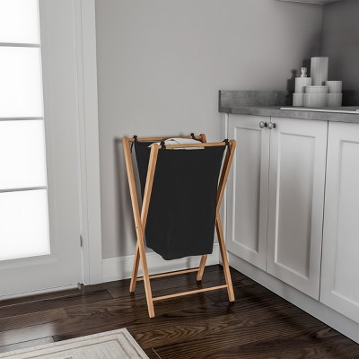 Foldable Bamboo Laundry Hamper - Lightweight Space Saving Collapsible X-Frame Linen Sorter with Natural Finish for Home or Dorm by Hastings Home