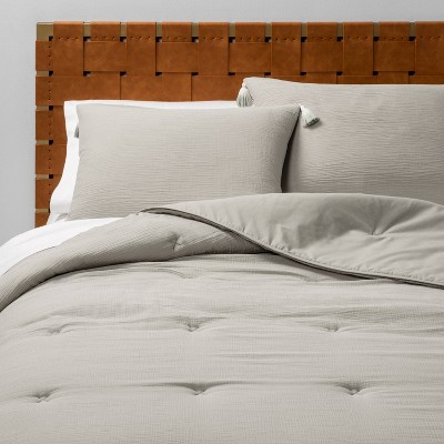 Full/Queen Solid Cotton Gauze Tasseled Comforter Set Gray - Opalhouse™
