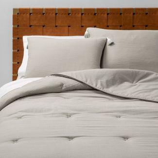 Full/Queen Solid Cotton Gauze Tasseled Comforter Set Gray - Opalhouse™