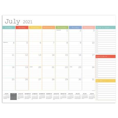 2021-22 Academic Desktop Calendar Rainbow Blocks Monthly Blotter - The Time Factory