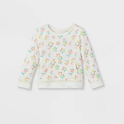 Toddler Girls' Adaptive Abdominal Access Star Pullover Sweatshirt - Cat & Jack™ Cream