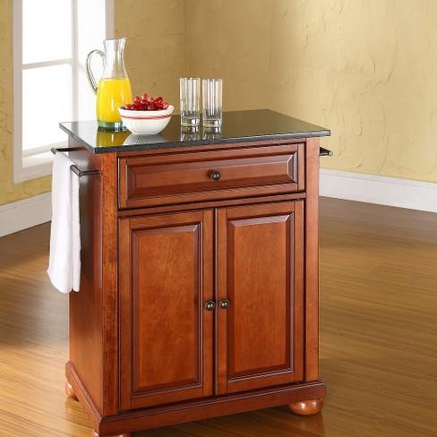 Alexandria Solid Black Granite Top Portable Kitchen Island Wood Clic Cherry Finish Crosley Target