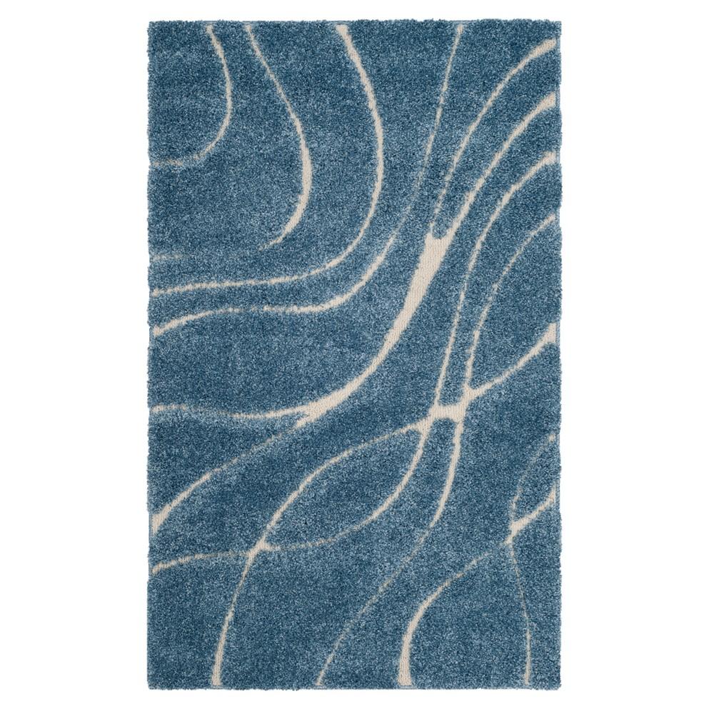 Light Blue/Cream (Light Blue/Ivory) Swirl Loomed Accent Rug 4'X6' - Safavieh
