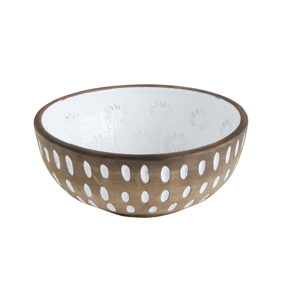 "Image of 10.5"" x 4"" Decorative Terracotta Bowl Brown/White - 3R Studios"