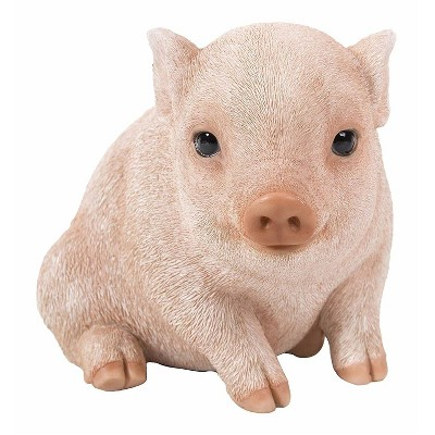 "5"" Polyresin Piglet Sitting Outdoor Statue Pink - Hi-Line Gift"
