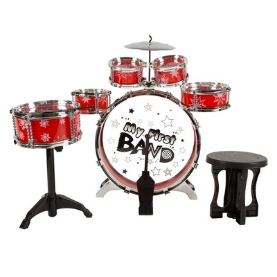 Toy Time Kids' Complete Drum Set - Red, 7 Pieces