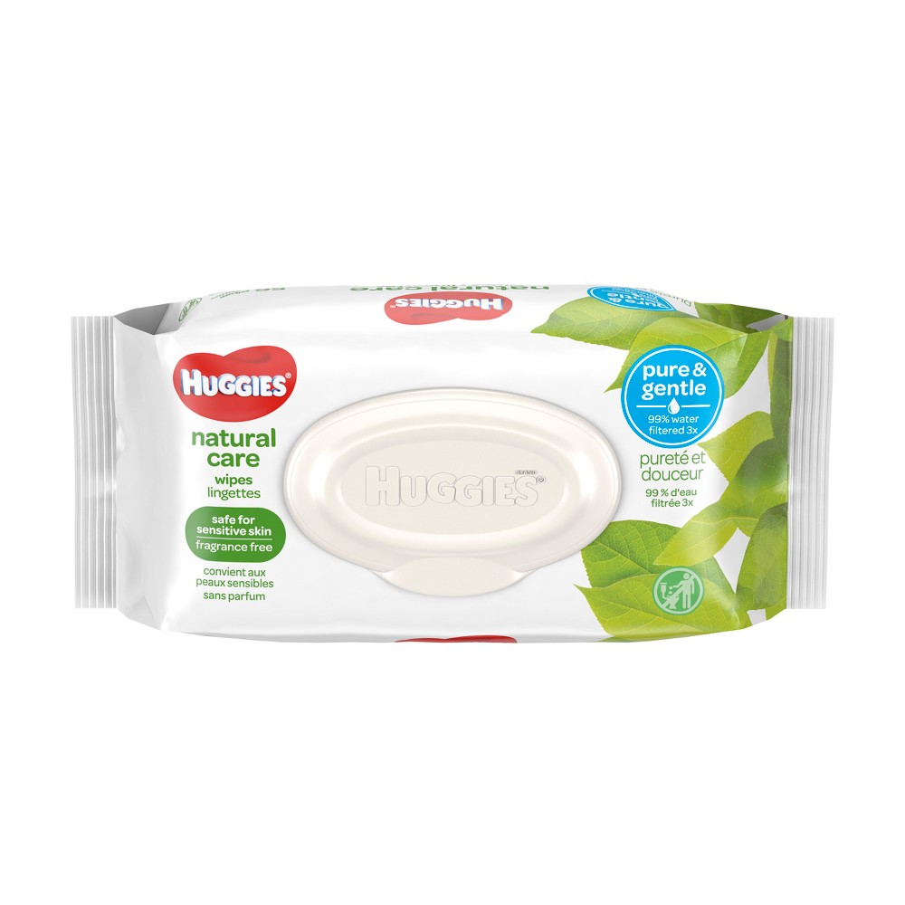 Huggies Natural Care Baby Wipes Unscented - 56ct Care for your baby's delicate skin from the very start with Huggies Natural Care Baby Wipes. Safe for sensitive skin, Natural Care Wipes contain 99 percent triple-filtered water for a pure, gentle clean. Plus, they are pH-balanced to help maintain your newborn's natural skin barrier and enriched with aloe and vitamin E to help keep skin healthy and conditioned. The #1 branded wipe*, Huggies Wipes are dermatologically tested and hypo-allergenic. In addition, Natural Care sensitive wipes are fragrance-free, alcohol-free and paraben-free, and they contain no phenoxyethanol or Mit. Size: 72.