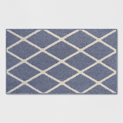 "1'8""X2'10""/20""X34"" Diamond Washable Tufted And Hooked Accent Rug Indigo - Threshold™"