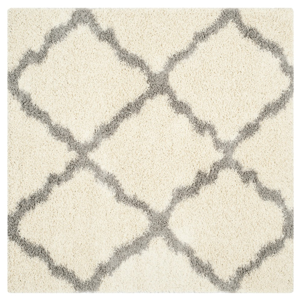 Ivory/Gray Geometric Shag/Flokati Loomed Square Area Rug - (6'X6') - Safavieh