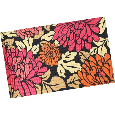 """1'5""""x2'5"""" Rectangle Pressed or Molded Floral Accent Rug Red - Sunnydaze Decor"""