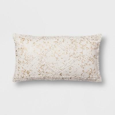 Cream Metallic Lumbar Throw Pillow - Opalhouse™