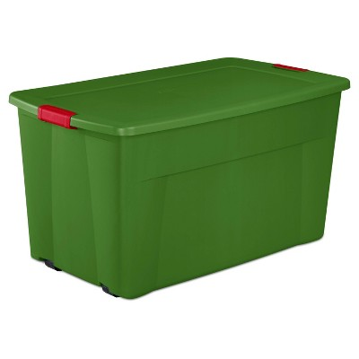 Sterilite 45gal Wheeled Latching Storage Tote Green Base and Red Latch