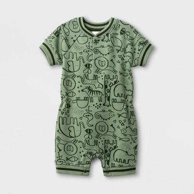 Baby Boys' Animal Print French Terry Short Sleeve Romper - Cat & Jack™ Green 0-3M