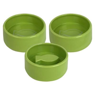 3pk Ceramic Cat Food & Water Dish Set Green - Bullseye's Playground™