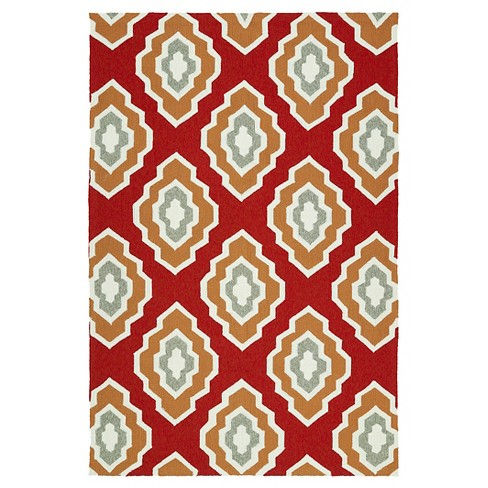 Indoor Outdoor Area Rug Red 2 X3