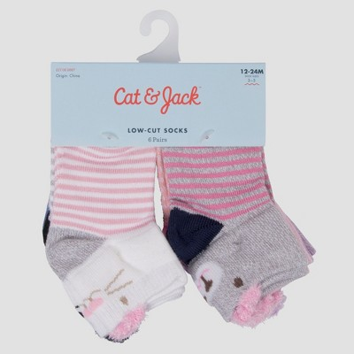 Baby Girls' 6pk So-Soft Low Cut Critter Socks - Cat & Jack™ Pink 6-12M