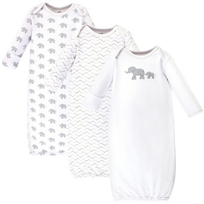 Touched by Nature Baby Organic Cotton Long-Sleeve Gowns 3pk, Marching Elephant, 0-6 Months
