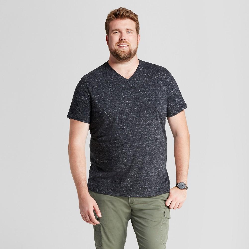 Men's Big & Tall Standard Fit Heathered Short Sleeve V-Neck T-Shirt - Goodfellow & Co Black 2XB