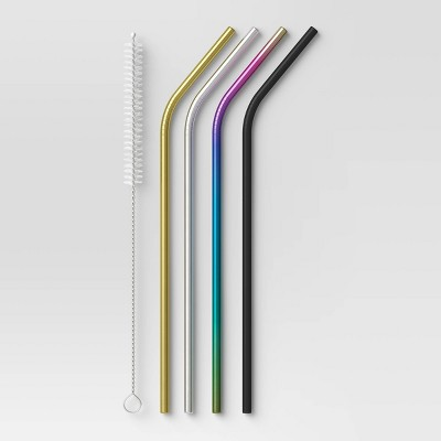 4pk Stainless Steel Angled Straws (Black Gold SS Rainbow)- Room Essentials™